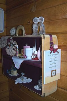 Vintage - Country - Shabby Chic Bathroom Makeover - Vintage Suitcase to Shelf - Love this!
