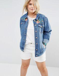 Image 2 ofAlice & You Denim Jacket With Bird Embroidery