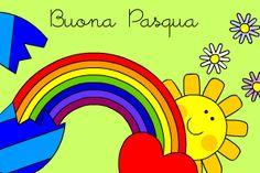 """Filastrocca di Pasqua - Buona Pasqua - Scarica la filastrocca e colora il disegno - """"Nei miei sogni ho immaginato un grande uovo colorato… Easter Drawings, Italian Lessons, Emoticon, Spring Flowers, Happy Easter, Logos, Pictures, Grande, Conte"""