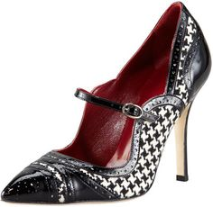 Manolo Blahnik Estipula Houndstooth Pointed-Toe Mary Jane
