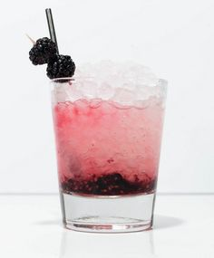 Bramble cocktail.  2oz. Gin, 3/4 oz. lemon juice, 3/4oz. simple syrup, blackberries.  Muddle blackberries and top with crushed ice.