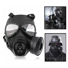 Jaisatti Tactical Head Masks Resin Full Face Fog Fan For Cs Airsoft Paintball Dummy Gas Mask With Fan Double Cosplay Protection Masks