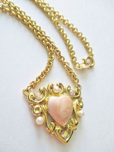 Vintage TRIFARI Necklace Enameled Heart / Rhinestones Center Piece Gold Plated #Trifari #ChainCenterpieceSpringClosureDesigner