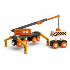 Brio Mega Crane by BRIO. $33.91. From the Manufacturer                Move loads with the crane's magnetic grip and place it on its wagon. It has an extendable arm, can swivel around and has foldable legs. Both crane and wagon rides on wooden tracks. Warning sign is included and Tracks are not included.                                    Product Description                Brio Mega Crane