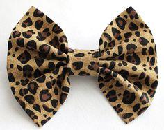 Leopard Print Bow - Animal Print Hair Bow - Brown Hair Bow
