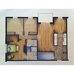 Manual rendering assignment where we were charged with rendering specific finishes onto a floor plan.