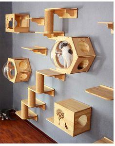 Cat Tree House, Cat House Diy, Cat House Plans, Cat Climbing Wall, Cat Climbing Shelves, Diy Cat Tree, Cat Trees Diy Easy, Cat Wall Furniture, Cat Wall Shelves