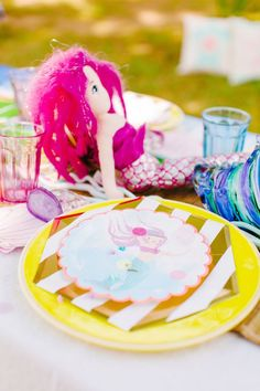 Place setting from a Watercolor Mermaid Birthday Party on Kara's Party Ideas | KarasPartyIdeas.com (34)