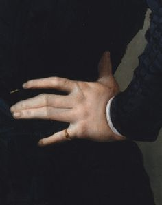 Agnolo Bronzino, Portrait of a Young Man with a Book (detail) 1535-40
