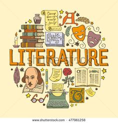 Literature hand drawn vector illustration with doodle icons, images and objects arranged in a circle Diy Notebook Cover, Bullet Journal School, Bullet Journal Ideas Pages, Cover Page For Project, English Projects, School Murals, Doodle Art Drawing, Doodle Icon, School Notebooks