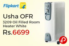 Flipkart is offering 21% off on Usha OFR 3209 Oil Filled Room Heater White Just at Rs.6699. 2400 W Maximum Power Consumption,   http://www.paisebachaoindia.com/usha-ofr-3209-oil-filled-room-heater-white-just-at-rs-6699-flipkart/