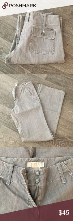 Straight leg grey light denim pants Like new. Worn once. No flaws. Amazing light weight denim fabric. Color is light grey. Inseam 32 inches. Almost 14 inches across waist band. Wide straight leg Michael Kors Jeans