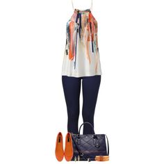 """Navy & Orange"" by stay-at-home-mom on Polyvore"