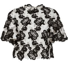 Monique Lhuillier     Floral Embroidered Short Sleeve Top ($1,195) ❤ liked on Polyvore featuring tops, black, monique lhuillier, cut-out crop tops, short sleeve tops, short sleeve crop top and crop top