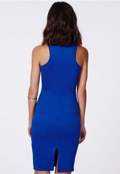 Zara Ribbed Racer Midi Cobalt - Dresses - Midi Dresses - Missguided