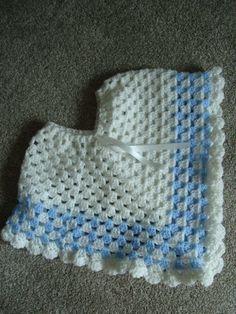 Child handmade crochet poncho approx 13  drop front Blue/white boys acrylic yarn