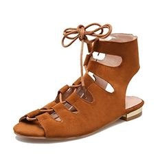 Women Block Strap Lace Up Cut Out Low Heel Sandals Boots Roma Shoes 11 BM USTag 43 Yellow ** Check out this great product.