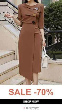 Casual Solid Buttons Pencil Sheath Dress Fashion girls, party dresses long dress for short Women, casual summer outfit ideas, party dresses Fashion Trends, Latest Fashion # Elegant Dresses, Beautiful Dresses, Casual Dresses, Classy Dress, Classy Outfits, Day Dresses, Dresses For Work, Dresses Online, Daily Dress