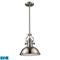 66124-1-LED Chadwick 1-Light Pendant In Satin Nickel - LED Offering Up To 800 Lumens (60 Watt Equivalent) With F