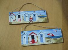 Items similar to SALE TENPOUNDS Personalised gift -beach hut wall plaque decoration seaside, nautical, hand painted on reverse side in acrylic paints on Etsy Beach Huts Art, Watercolors, Watercolor Paintings, Beach Watercolor, Pictures To Paint, Acrylic Art, Wall Plaques, Rock Art, Cute Art