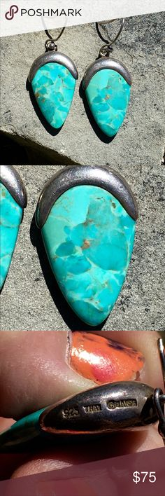 """Vintage Barse Sterling Turquoise Drop Earrings 2 1/8"""" Long, Marked Barse Thai Sterling, Happy to polish them if you choose, 14g Barse Jewelry Earrings"""