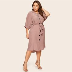 Plus Size Casual Button Detail Shirt Dress Women Spring Half Sleeve Straight Dresses Ladies Solid Midi Dress Color Pink Size XL Half Sleeve Dresses, Plus Size Dresses, Half Sleeves, Dresses For Work, Dresses With Sleeves, Belted Shirt Dress, Collar Dress, Shirt Outfit, How To Look Skinnier