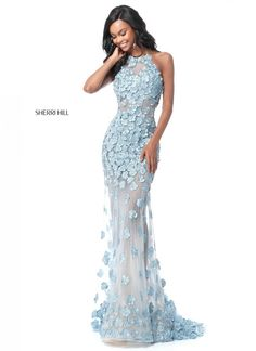 Wow the crowd in this extravagant Sherri Hill prom dress 51660 at your senior prom. The top features a high halter neckline and a beautiful open back. Pleated Wedding Dresses, Drop Waist Wedding Dress, Crystal Wedding Dresses, Sequin Evening Dresses, Wedding Dress Organza, Sherri Hill Prom Dresses, Long Evening Gowns, Strapless Dress Formal, Ball Dresses