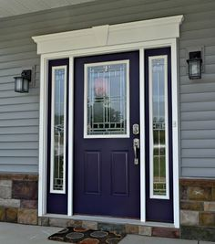 Need to refinish front doors, keep this same color they are now, maybe go brighter? Change framing trim to Swiss Coffee to match other house trim. Purple is the new red! Shades of purple are increasing in popularity as a bold entry door color. Purple Front Doors, Painted Front Doors, Front Door Colors, Colored Front Doors, Exterior Door Colors, Exterior Design, Exterior Paint, Painted Exterior Doors, Exterior Shades