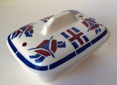 1930s Badonviller Biarritz Faience French Porcelain Box Soap Dish