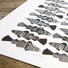 Mini Retro Fish Screen Print - Classic Black