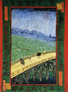 Bridge in the Rain, Vincent Van Gogh, 1887 - one of several Van Gogh paintings that reflect his interest in Japanese woodblocks