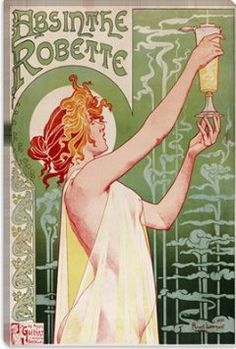 Absinthe Robette Art Neauveau Vintage Poster - it's all about the swirls and girls