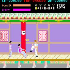 Kungfu master...everytime he reached the end of the platform someone came  stole his girlfriend in the red dress  Google Image Result for http://www.ilovethe80s.com/kungfu_master.gif
