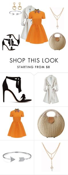 """Orange Dress"" by lia-fashion on Polyvore featuring Alexandre Birman, Valentino, Bling Jewelry and Gucci"