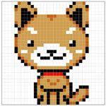 柴犬(アイロンビーズ図案)|フリー素材|素材プチッチ