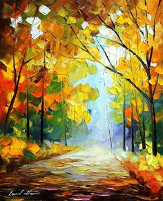 """A Day of Feelings"" is a painting of Leonid Afremov that shows a beautiful scene of nature. It can hardly be called a cityscape art and looks like a place in the country. Original Oil Painting, Art Painting, Landscape Paintings, Cityscape Art, Surreal Art, Oil Painting Nature, Oil Painting Landscape, Canvas Painting, Landscape Art"