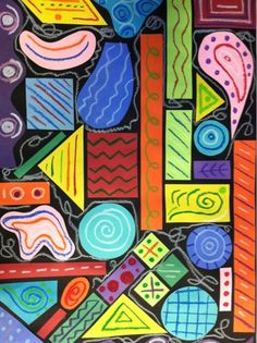 "PreK/Kinder Lesson -- reggie laurent ""shapely"" abstractions End of year, clear the scrap box project: shape/pattern. Use organic and geometric shapes. Kindergarten Art Lessons, Art Lessons Elementary, Kids Art Lessons, First Grade Art, 3rd Grade Art Lesson, Creation Art, Shape Art, Shape Collage, Shape Design"