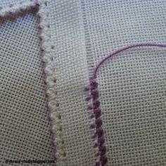 Zig Zag Crochet, Crochet Poncho, Hardanger Embroidery, Embroidery Applique, Embroidery Stitches, Hem Stitch, Cross Stitch, Drawn Thread, Linen Fabric