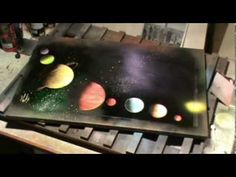 8 Planets Solar System Spray Paint Art Tutorial - YouTube