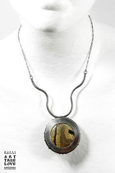 Both side necklace - sterling silver, vitreous enamel, natural stone. 2017 Dwustronny naszyjnik - srebro 925, emalia jubilerska, kamień naturalny. 2017