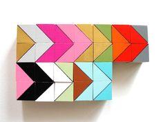"24 Mini Art Block Magnets - Hand Painted Wood Blocks 3/4x3/4x3/4"" in Austin Set (Gold, Neon Pink, Aqua) - Geometric, Color Block. $20.00, via Etsy."