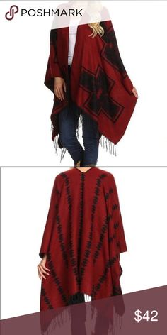 Cowgirl Poncho cardigan style one size fit Awesome one size fit most open front poncho cardigan style. With fringe. Wrap yourself in warmth with style. One size fit. Jackets & Coats
