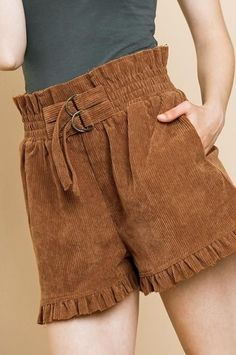 Tie Crop Top, Crop Tops, Corduroy Shorts, Elastic Waist, Short Dresses, Cute, Outfits, Fashion, Pants