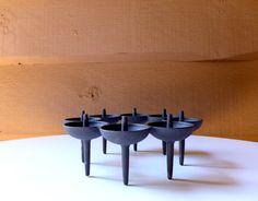 Dansk Candle Holder, Mid-Century Modern Candle Holder, Vintage Dansk Centerpiece, Black Cast Iron Candle Holder, Danish Modern Candle Holder