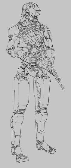 ArtStation - MANTIS - mech for a cyberpunk, retro-futuristic shooter, Will JinHo Bik Robot Concept Art, Armor Concept, Character Concept, Character Art, Character Design, Cyberpunk Rpg, Gato Anime, Robots Characters, Arte Robot