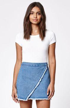 79c0ddf099 Kendall   Kylie Wrap Fringed Denim Skirt at PacSun.com
