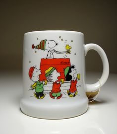 Vintage Snoopy, Woodstock and Peanuts Gang Ceramic Mug