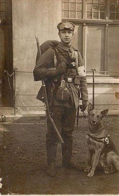 WW I Medic With His Dog.