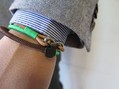Sterling silver Green and Blue wraparound bracelet. Up you style today with our handmade bracelets.  Sterling Silver  15.90 inch in length  100 % genuine tanned distressed leather and nylon cord.