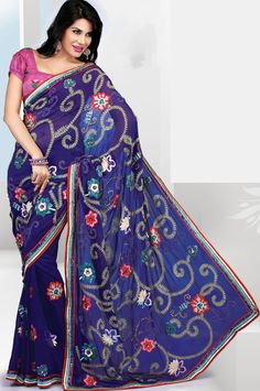 Blue Faux Georgette Embroidered Saree With Blouse - IG7045 USD $ 107.96